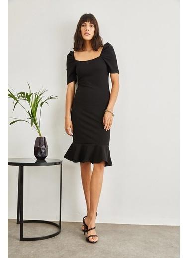Sortee Kadın Kare Yaka Kaşkorse Elbise Siyah